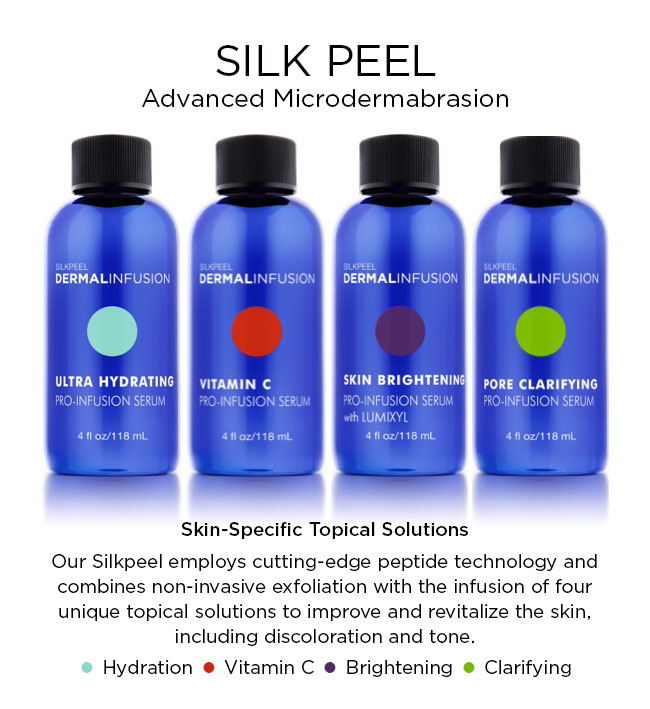 Our Silkpeel employs cutting-edge peptide technology and combines non-invasive exfoliation with the infusion of four unique topical solutions to improve and revitalize the skin, including discoloration and tone.