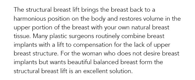 The structural breast lift brings the breast back to a harmonious position on the body and restores volume in the upper portion of the breast with your own natural breast tissue. Many plastic surgeons routinely combine breast implants with a lift to compensation for the lack of upper breast structure. For the woman who does not desire breast implants but wants beautiful balanced breast form the structural breast lift is an excellent solution.