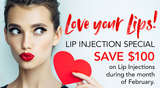 Lip Injection Special SAVE $100 on Lip Injections during the month of February.